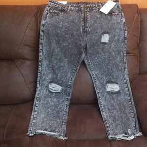 Womens high rise acid washed distressed jeans